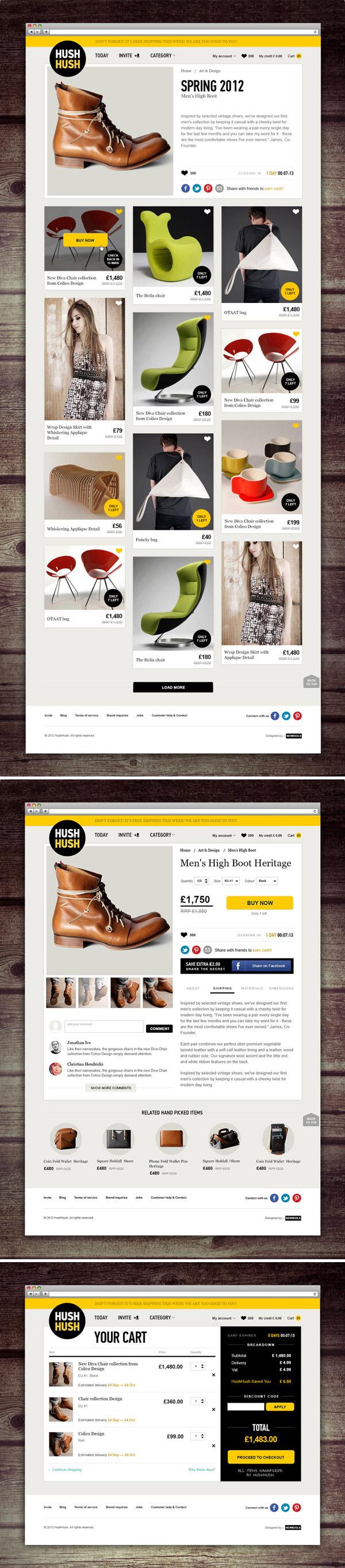 HushHush- Inspiración web design