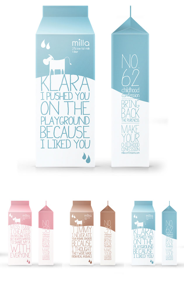Packaging Leche, Milla Confessions by Christy Srisanan and Erick Barrios