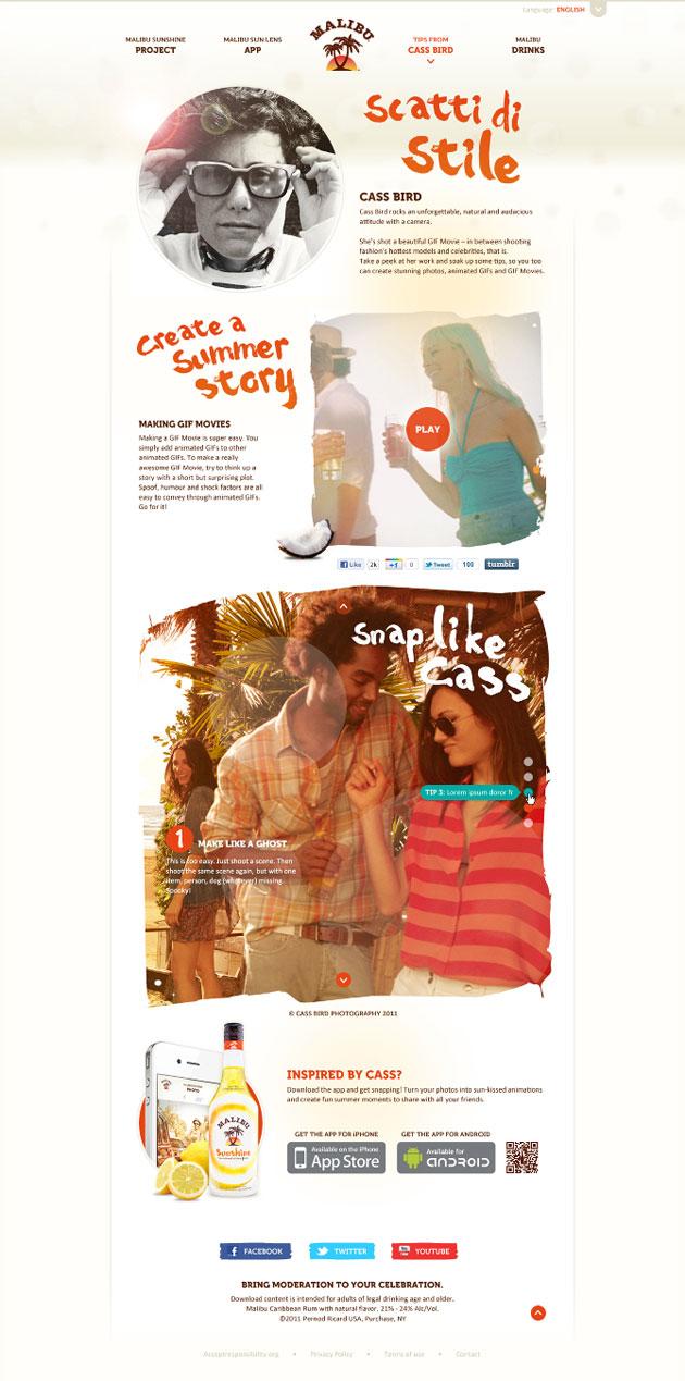 Malibu Sunshine - Inspiración web design