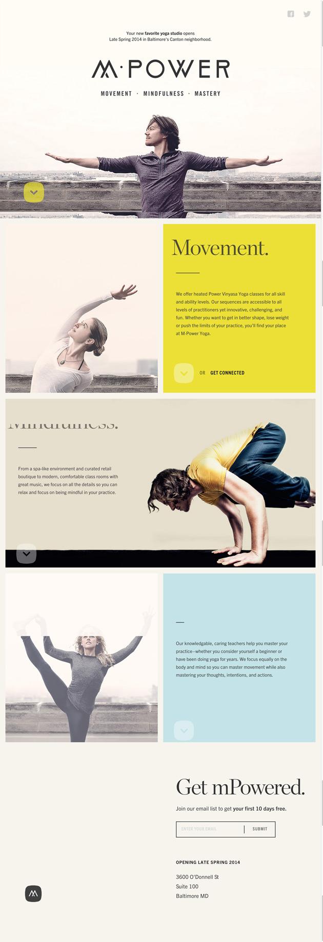 M·Power Yoga Studio - Inspiración web design
