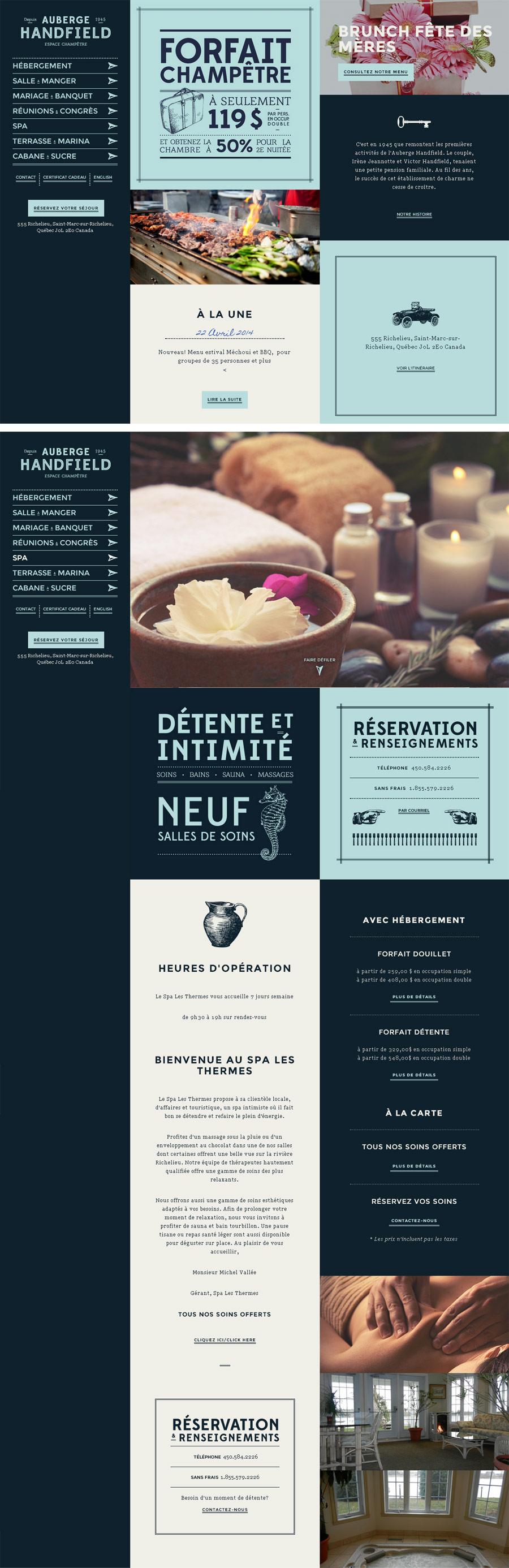 Auberge Handfield - Inspiración web design