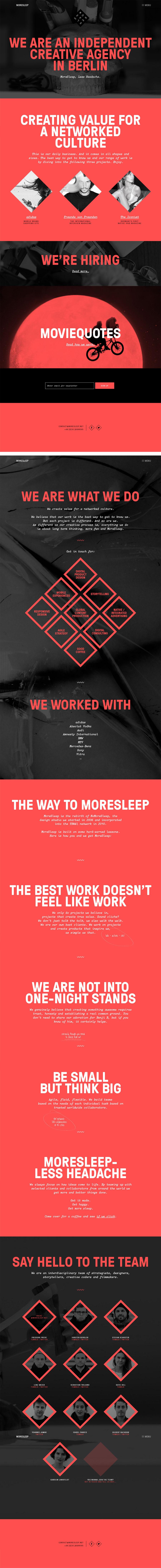 MoreSleep - Inspiración web design