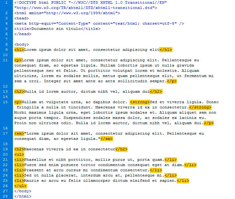 HTML con etiquetas