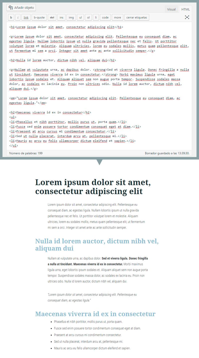 Ejemplo HTML en WordPress con etiquetas