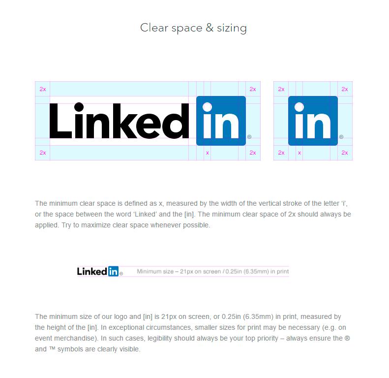 Espaciado - Identidad visual de LinkedIn