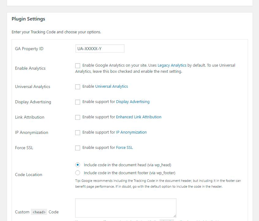 Configuración plugin GA