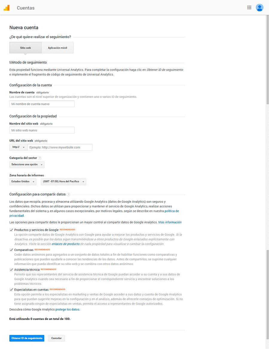 Crear una cuenta de Google Analytics 2