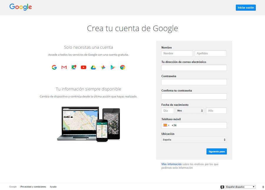 Crear cuenta de Google 1