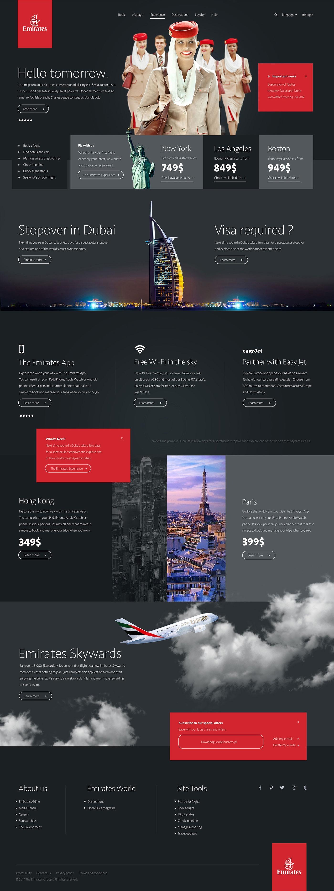 Emirates Airlines Website Concept