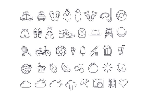 40 Free Summer Icons (PSD – AI)   Recursos gratuitos de mayo para diseñadores