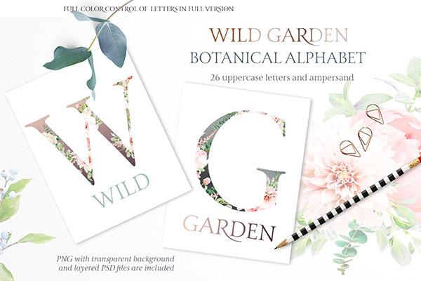 Free Botanical Alphabet     Recursos gratuitos de mayo para diseñadores