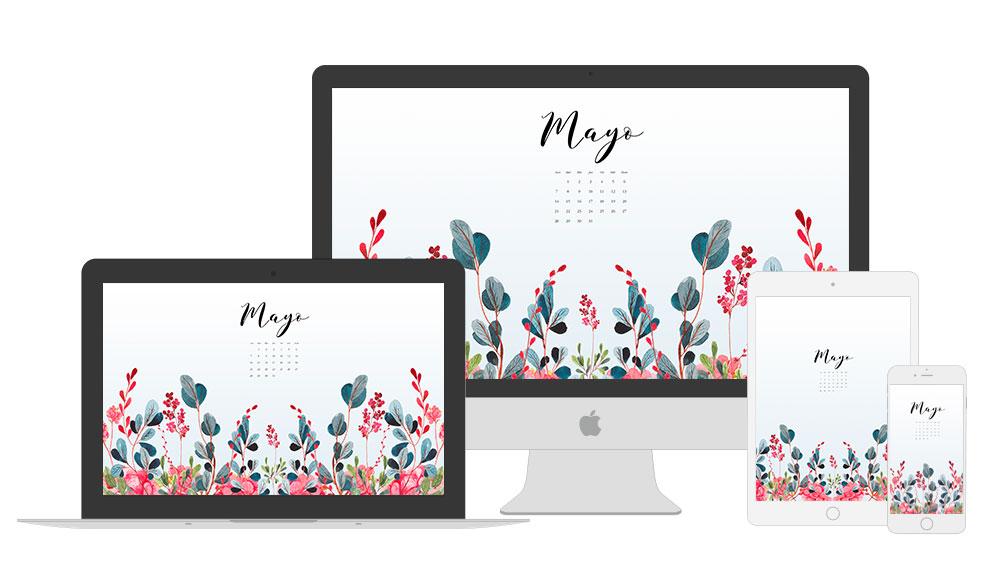 Vista del calendario descargable de mayo en los diferentes dispositivos