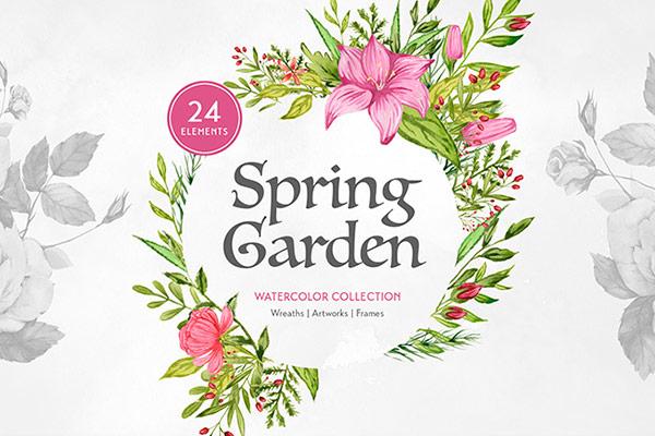 Spring Garden Watercolors    Recursos gratuitos de mayo para diseñadores