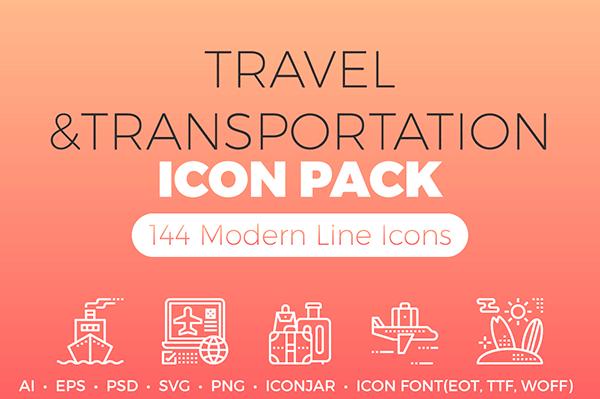 Travel & Transportation Detailed Line Icons Becris Freebie   Recursos gratuitos de mayo para diseñadores