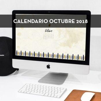Calendario descargable de octubre de 2018